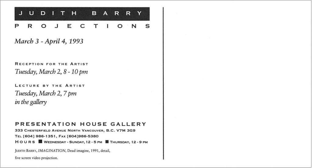 Projections, Barry, Gallery Invitation - back