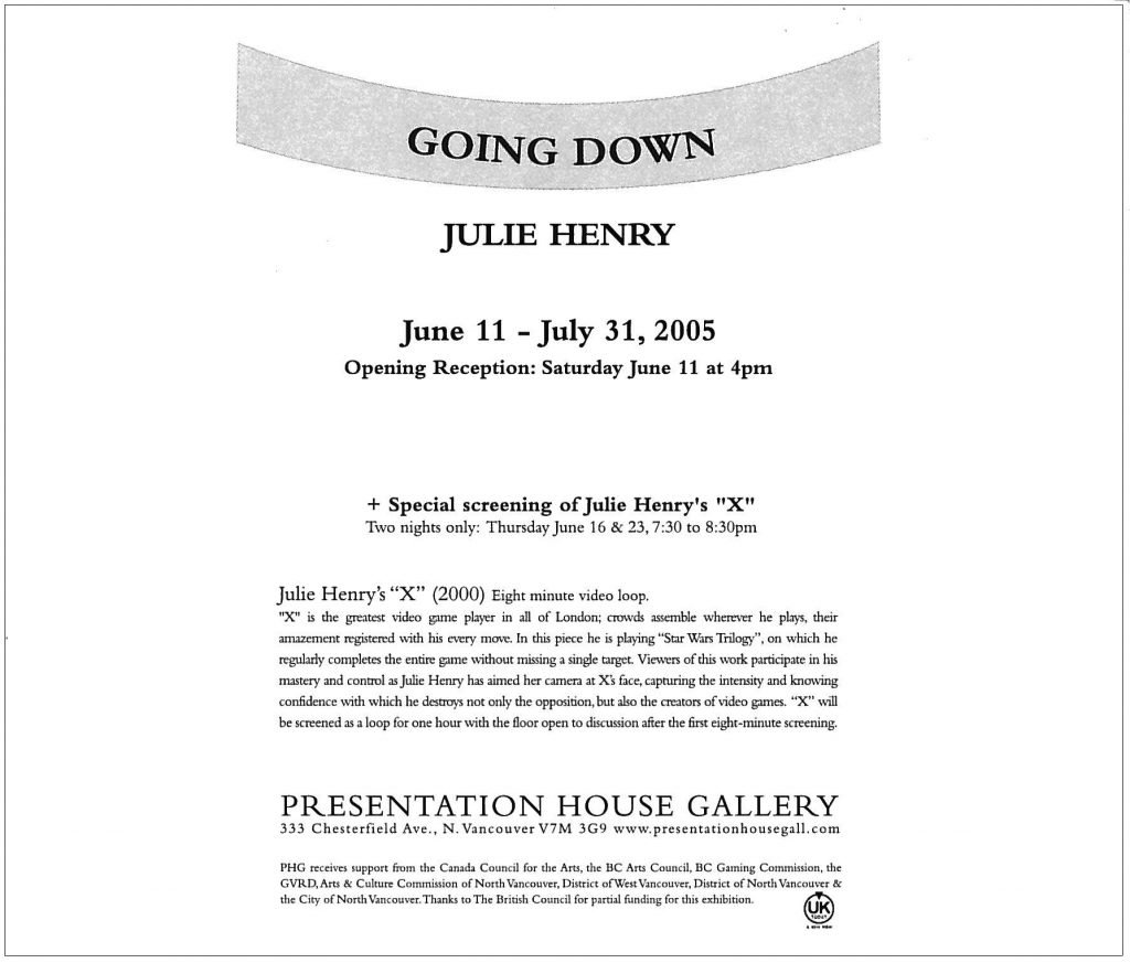 Going Down, Julie Henry, Gallery Invitation - back