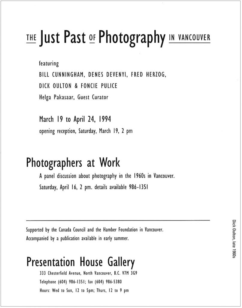 Just past of photography, Gallery Invitation - back