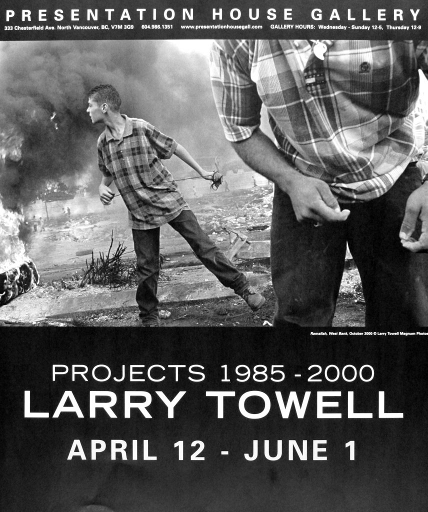 "Poster for the exhibition ""Larry Towell: Projects 1985-2000"""