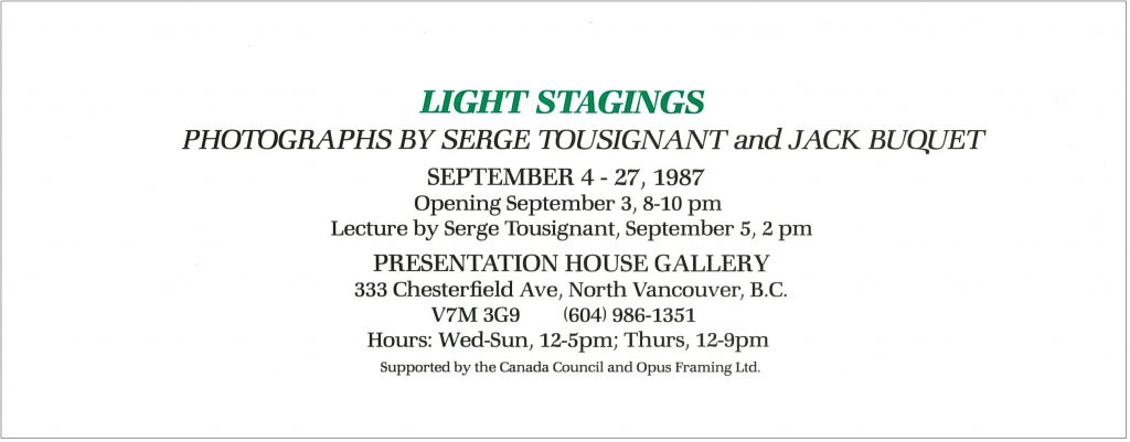 Light stagings, Gallery Invitation
