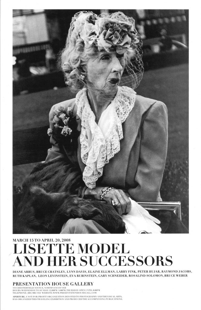 Poster for the exhibiotion 'Lisette Model & Her Successors'