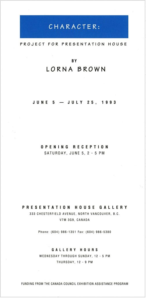 Lorna Brown, Gallery Invitation - back