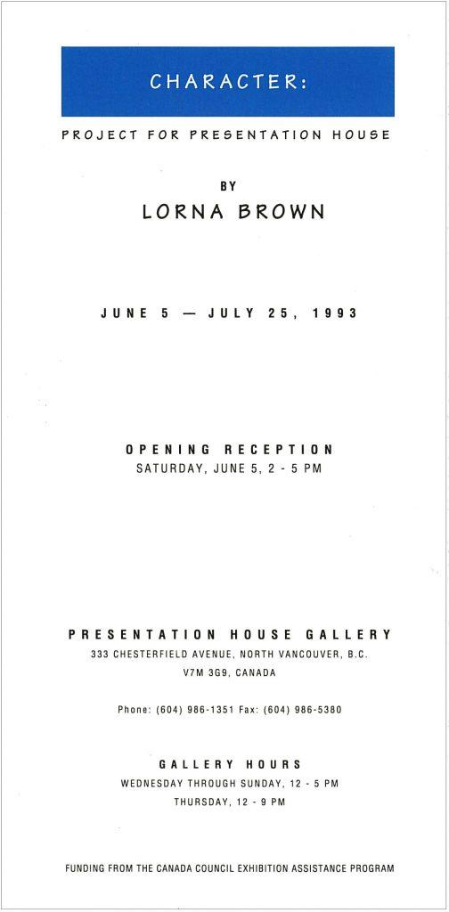 Lorna Brown, Gallery Invitation - back