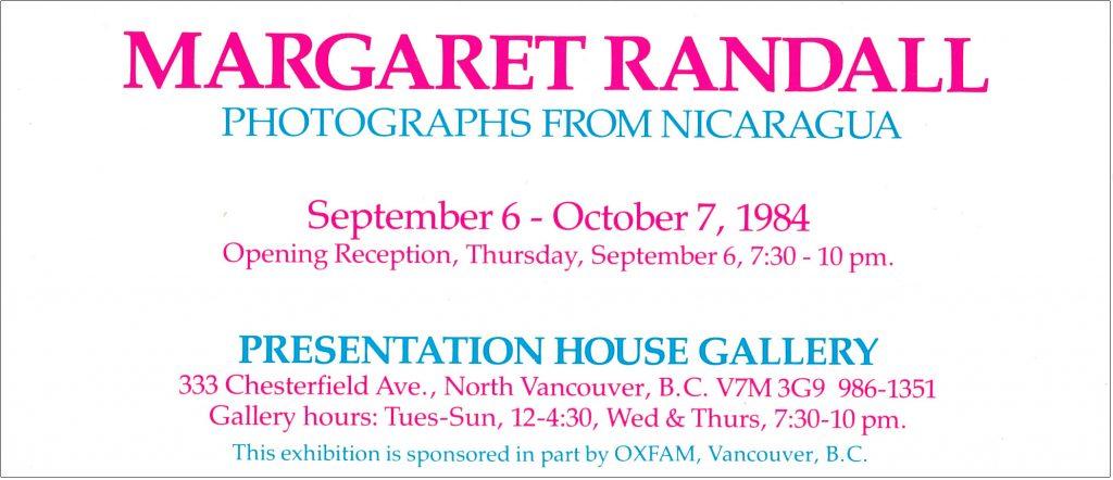 Randall, Nicaragua, Gallery Invitation