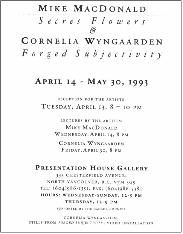 forged subjectivity, Gallery Invitation - back