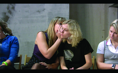 "Anetta Mona Chişa & Lucia Tkáčová, still from ""The Descent of Man, and Selection in Relation to Sex"", 2010 color video with sound and English subtitles, 35:00 min. Courtesy Christine König Galerie, Vienna"