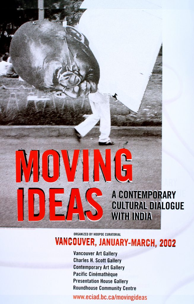 "Poster for the exhibition ""Moving Ideas – A Contemporary Cultural Dialogue With India"""