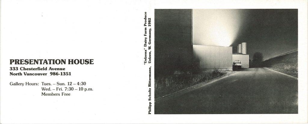 night photographs, Gallery Invitation - back