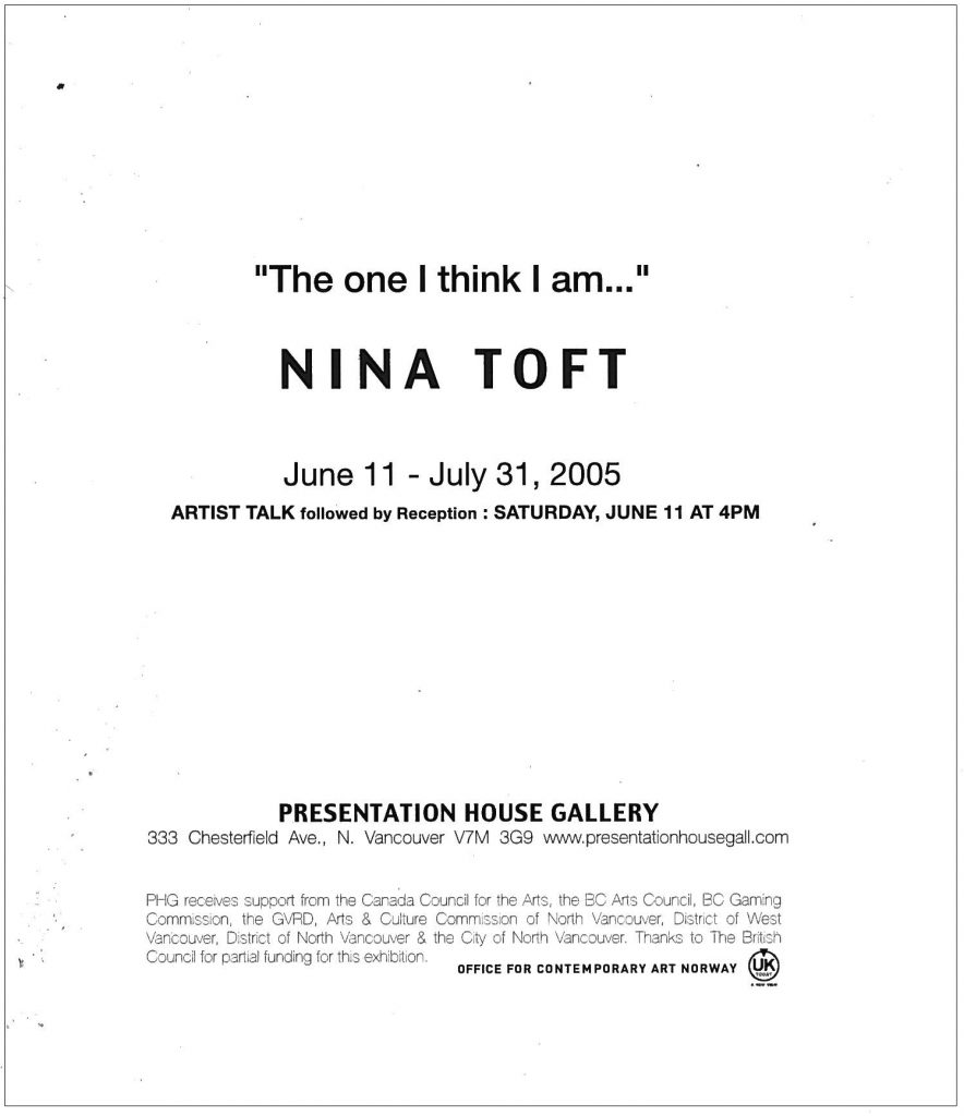 Nina Toft, Gallery Invitation - back