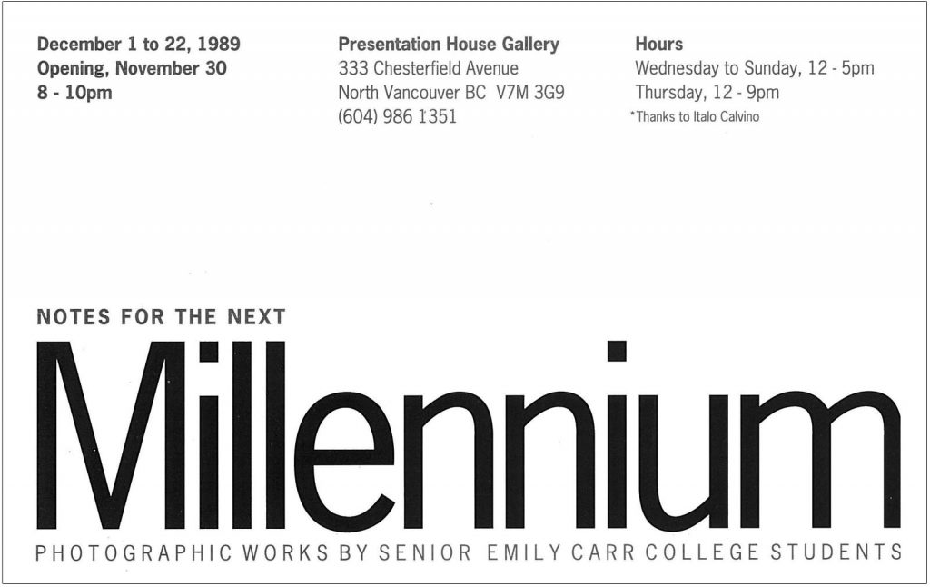 next millennium, Gallery Invitation