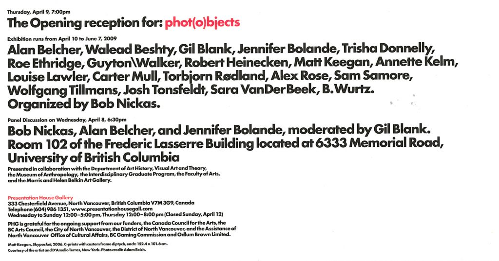Phot(o)bjects, Gallery Invitation - back