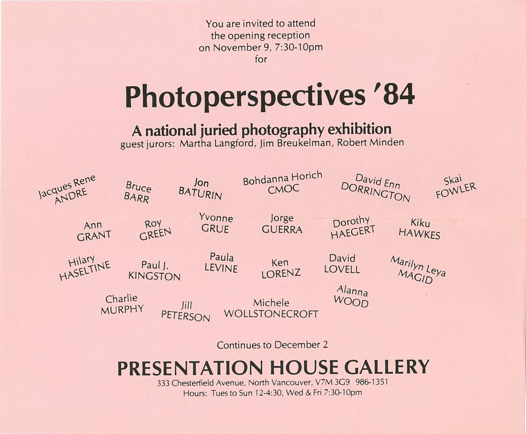 photoperspectives 84, Gallery Invitation