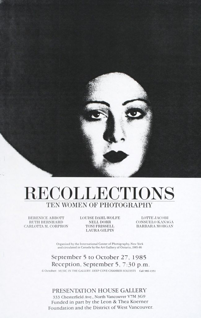 "Poster for the exhibition ""Recollections: Ten Women of Photography"""