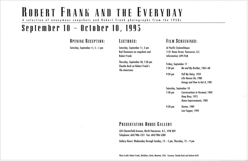Robert Frank, the everyday, Gallery Invitation - back
