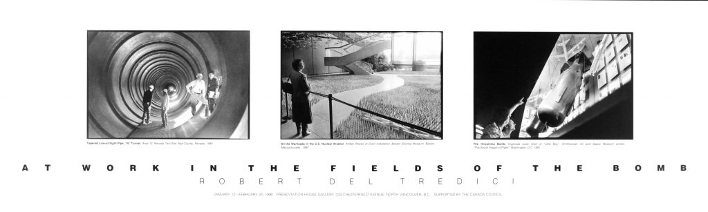"Poster for the exhibition "" At Work in the Fields of the Bomb"""
