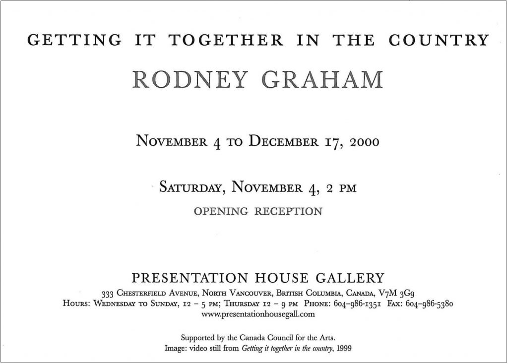 Rodney Graham, Gallery Invitation - back
