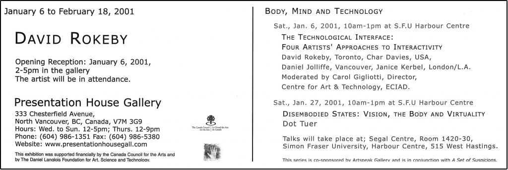 David Rokeby, Gallery Invitation - back