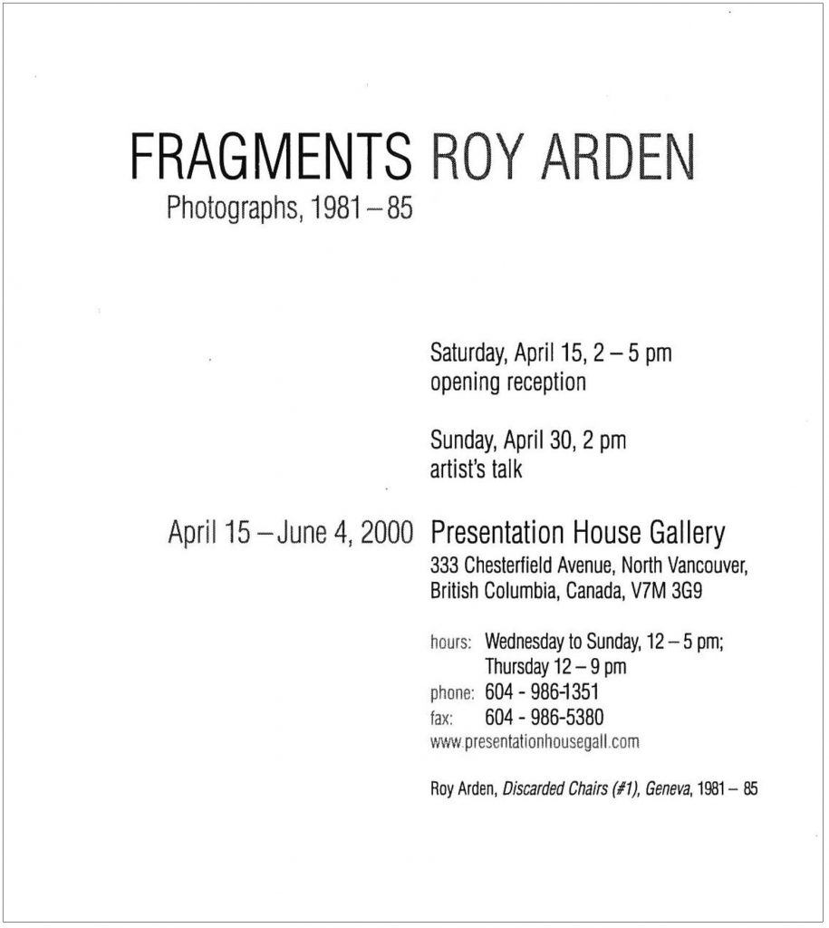 Fragments, Arden, Gallery Invitation - back