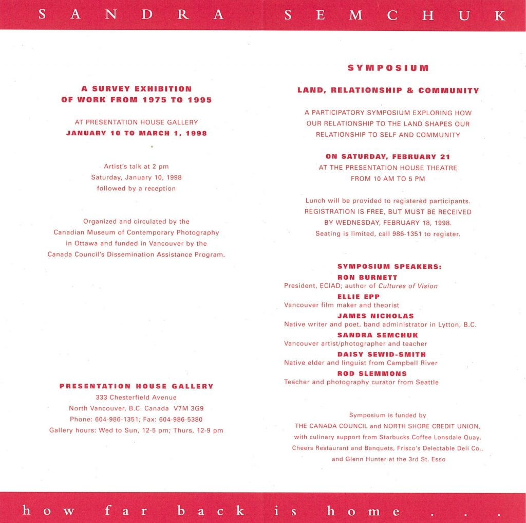 Sandra Semchuk, Gallery Invitation - back