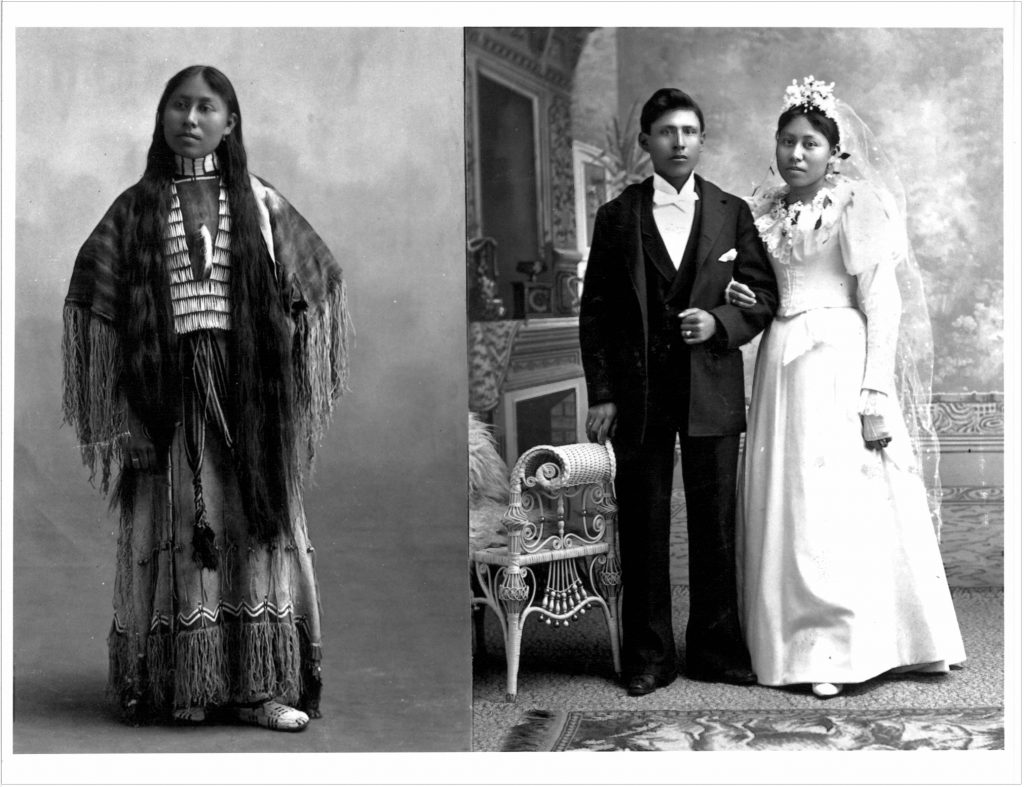 Wauxi Haury, Before and After page in the Carlisle Indian School Album. c. 1895.