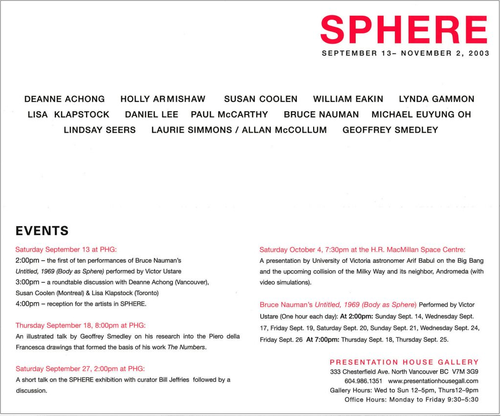 Sphere, Gallery Invitation - back