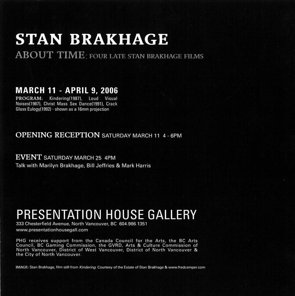Stan Brakhage, Gallery Invitation - back