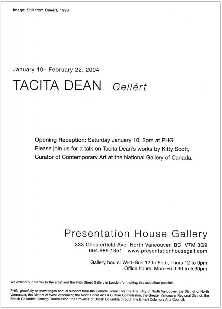 Tacita Dean, Gallery Invitation - back