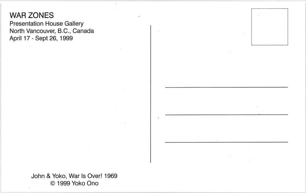 John Lennon and Yoko Ono, War is Over! If You Want It,1999, Postcard (back)