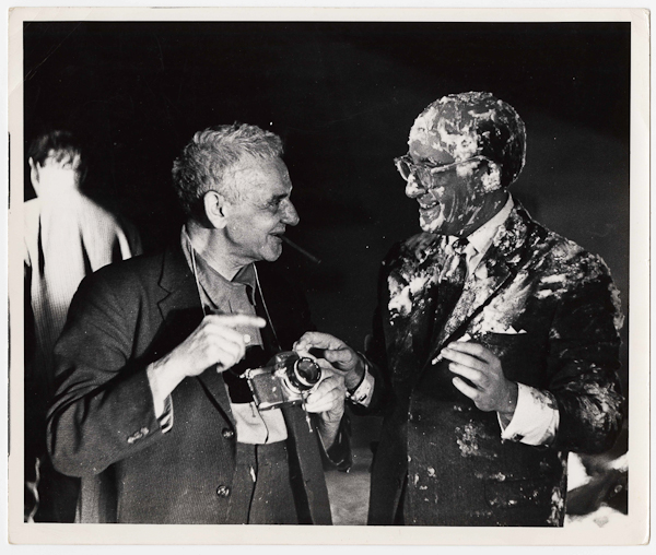 Unidentified Photographer, [Weegee and Peter Sellers after the famous pie scene on the set of Dr. Strangelove or: How I Learned to Stop Worrying and Love the Bomb], 1963, Courtesy International Center of Photography