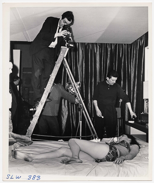 Weegee, [Stanley Kubrick directing Tracy Reed as Miss Scott on the set of Dr. Strangelove or: How I Learned to Stop Worrying and Love the Bomb], 1963, © Weegee/International Center of Photographyweegee_7505_1993-4