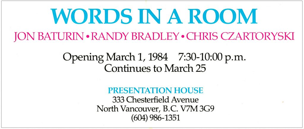 words in a room, Gallery Invitation