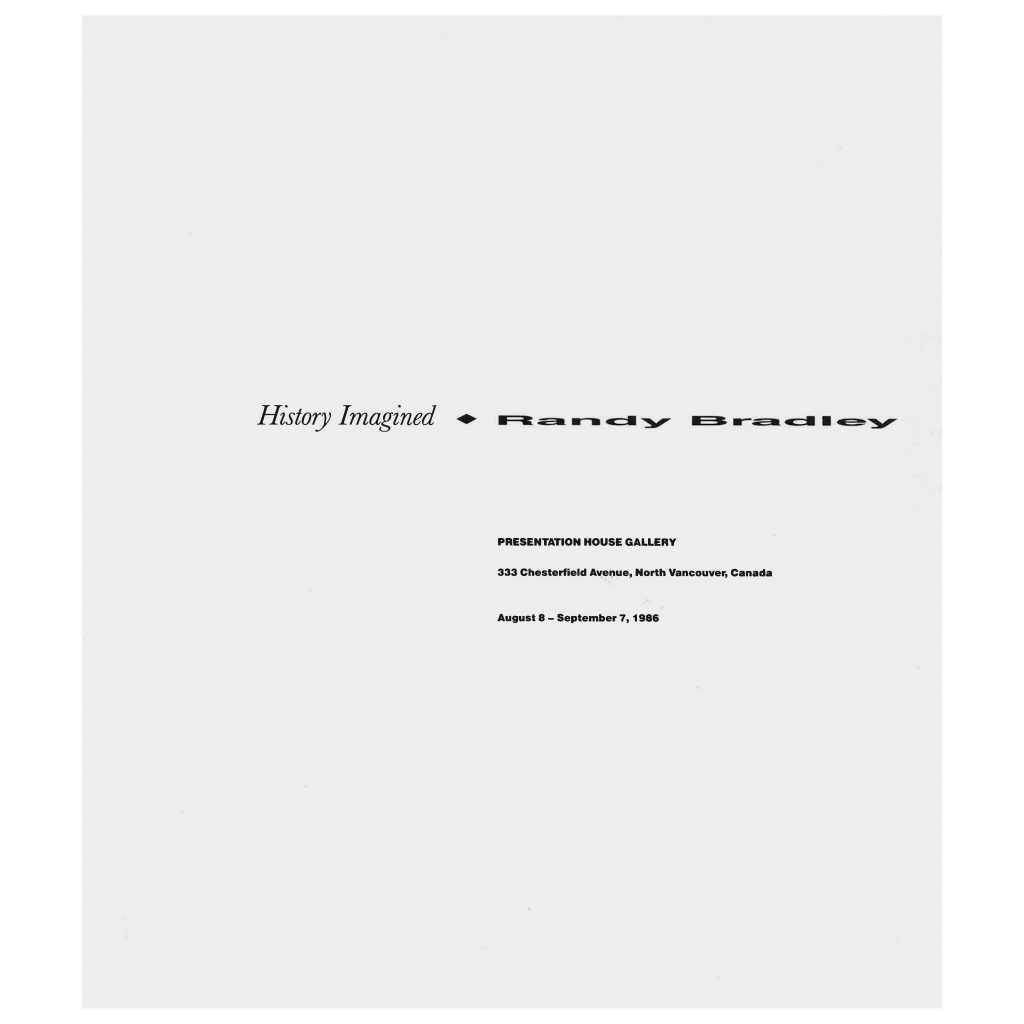 History Imagined - Randy Bradley exhibition brochure