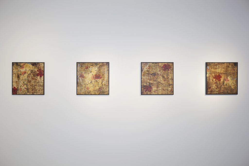 "Installation view, Susan Hiller, ""Homage to George Bataille, The Dirty Paintings"", 1990, dispersion, ink and dirt on canvas-mounted wallpaper, 8 panels, each panel: 40.1 x 40.1 cm, © Susan Hiller, courtesy Lisson Gallery"
