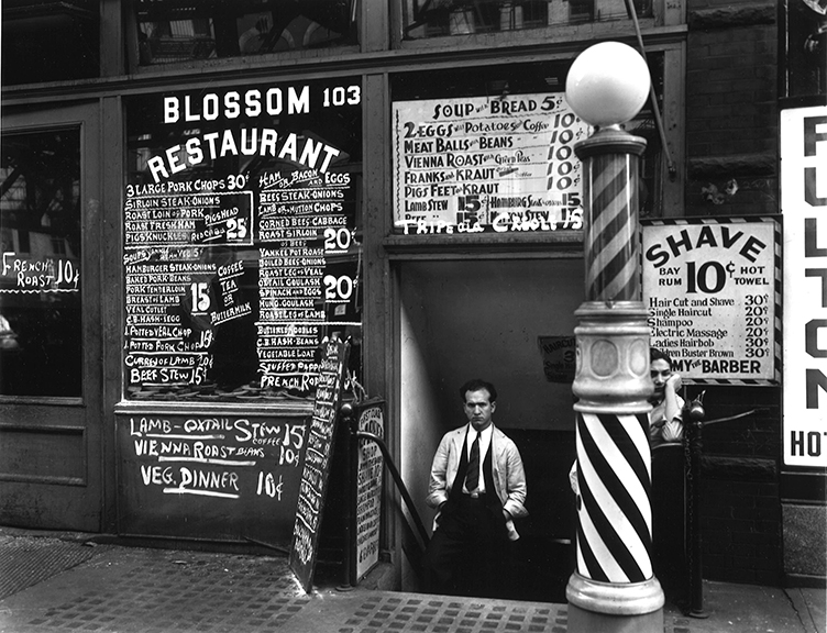 Berenice Abbott, Blossom Restaurant, 103 Bowery, Manhattan. 1935. gelatin silver print (printed later)