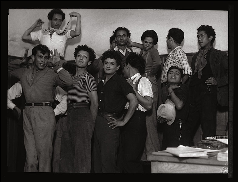 Arrested homosexuals pose for the camera at the police station, Mexico City, ca.1935