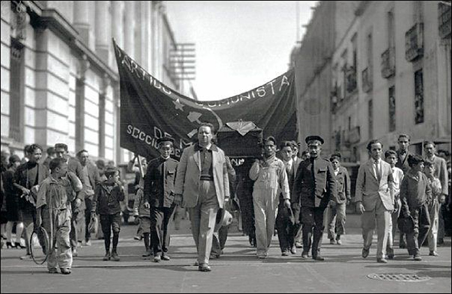 Painter Diego Rivera leading Julio Antonio Mella's funeral procession, Mexico City, 1929. gelatin silver print